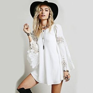Women Lace Dress Loose Summer Long Sleeve Boho Min